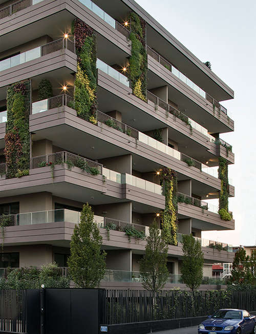 Large vertical gardens, Outdoor vertical garden for Living Park Vedano Apartments.