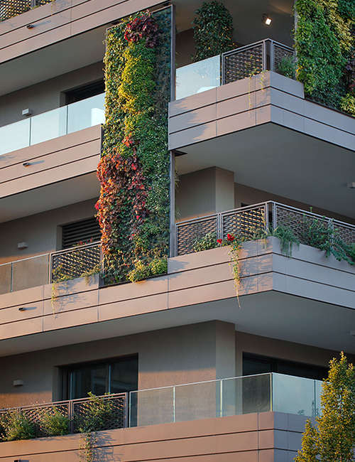 Large vertical gardens, Outdoor vertical garden for Living Park Vedano Apartments - photo 2.