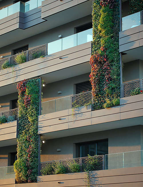 Large vertical gardens, Outdoor vertical garden for Living Park Vedano Apartments - photo 5.