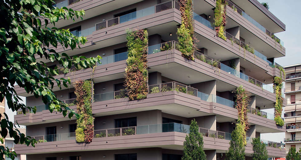 Large vertical gardens, Outdoor vertical garden for Living Park Vedano Apartments - photo 6.