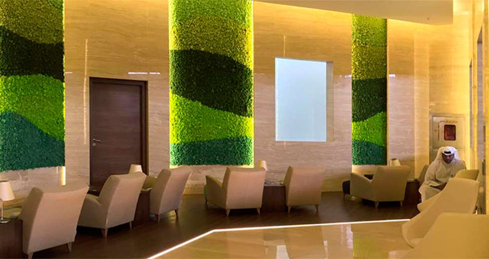 Moss wall design, Biophilic Design, Green wall office for International Airport in Kuwait - photo 1.